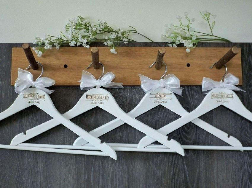 Personalised White Wooden Wedding Hangers Set of 8 with Bow - Scroll